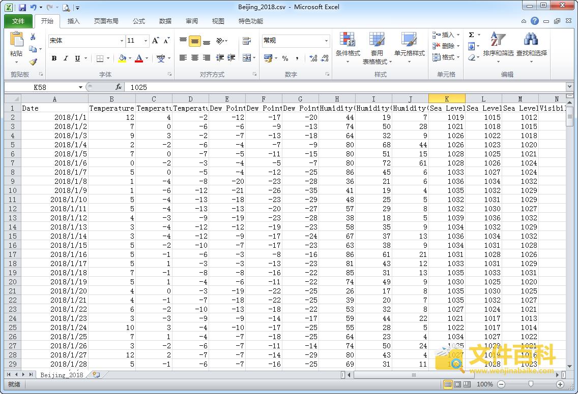 在Excel中打开的CSV文件