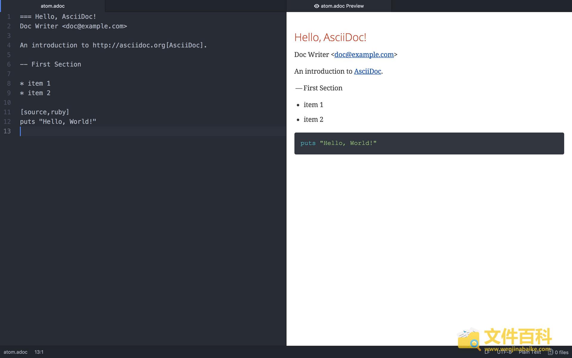 在代码编辑器Atom打开的ADOC文档
