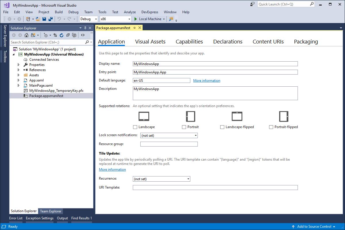在Visual Studio中打开的Package.appxmanifest文件