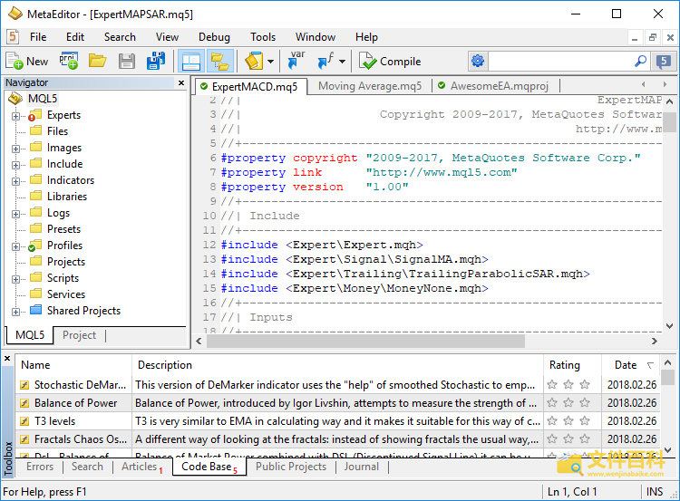 MetaEditor打开的MQ5文件